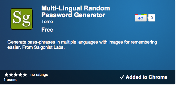 Chrome App Store screenshot of Multi-Lingual Password Generator